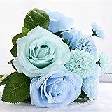sf-world 1Strauß 8PCS Künstliche Rose Dahlia Daisy Flower Bouquet Braut Brautjungfer Holding Blumen für Home Hotel Büro Hochzeit Party Garten Craft Art Decor blau