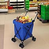 Flabor Einkaufstrolley klappbar Einkaufswagen faltbar wasserfest Lebensmittelmit rollen mit Schwenkbare PU Rädern, Bis zu 75kg Gewichtskapazität