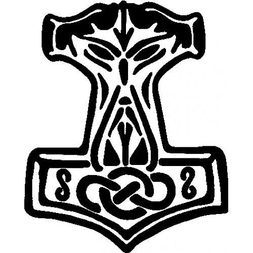 Thors Hammer Heckscheibenaufkleber | Aufkleber Farbe: weiß | Thorhammer Autoaufkleber für die Heckscheibe, Atheist, Antichrist, Heide, Heidentum