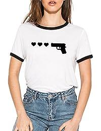32525630c3 MINGA LONDON Gun Hearts Ringer T-Shirt Tee Top Women s Funny Tumblr Grunge
