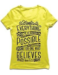Camiseta mujer Jesucristo: Todo es posible para quien cree: religión cristiana, fe,