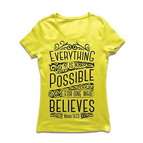 Frauen T-Shirt Jesus Christus: Alles ist möglich für den, der glaubt - christliche Religion, Glaube, Bibel - Ostern - Auferstehung (Large Gelb Mehrfarben)