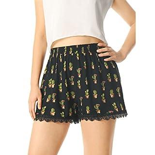 Allegra K Women's Allover Printed Lace Trim Elastic Waist Summer Shorts Black-Cactus Print L (UK 16)