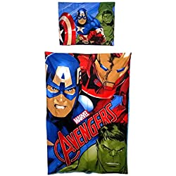 Avengers Juego de cama, funda nórdica de Juego, 100% algodón, techos: 140x 200cm + almohada: 70x 90cm