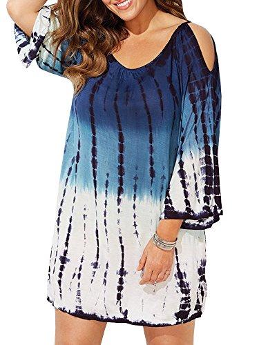 Ybenlow Damen Badeanzug Übergröße Übergröße Cold Shoulder Tie Dye Baggy Badeanzug Strand Kleid T-Shirt - blau - XXX-Large -