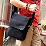 Eshow Mens Small Canvas Briefcase Cross Body Messenger Shoulder Casual Satchel Bags, Black