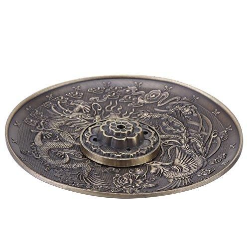 Räucherstäbchenhalter Vintage Räuchergefäß Abdeckung Bronze Chinese Dragon Phoenix Tibetischen Räucherstäbchen Vintage FengShui Dekoration(Bronze) (Brenner Seitliche Zwei)