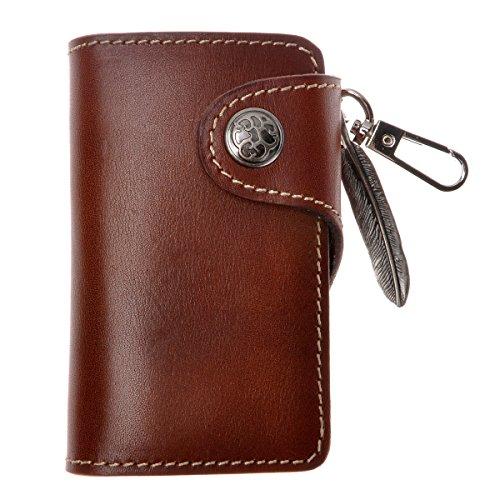 ZLYC Nuovo Artigianale in Vera Pelle Caso chiave chiave carte con Charm Ornament Dark Brown