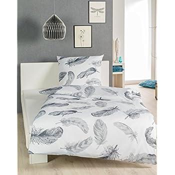 wundersch ne renforc baumwolle bettw sche federn wei grau 135x200 80x80 cm. Black Bedroom Furniture Sets. Home Design Ideas