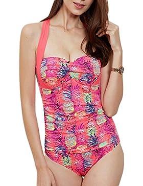 Costume da bagno delle signore Swimwear Siamese Costume rosa pieghevole Bikini Beach Swimwear Spa Costume da bagno...