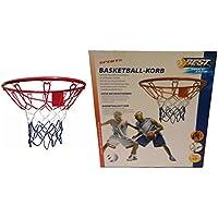 Canasta de baloncesto sin pelota, estable metal tipo de construcción en tamaño oficial con 45cm Diámetro, completo con tornillos de fijación y–Tuercas y baloncesto red