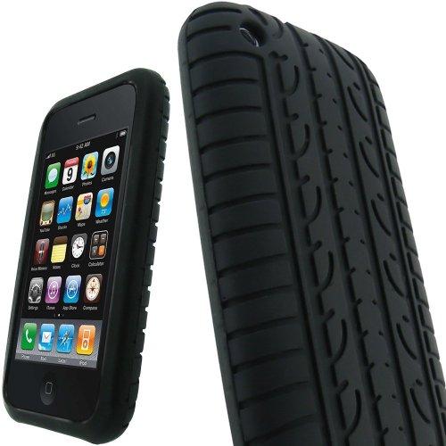 SKS Distribution® noir Silicone pneu Usure Tyre Etui Coque Housse Pour APPLE IPHONE 3G / 3GS