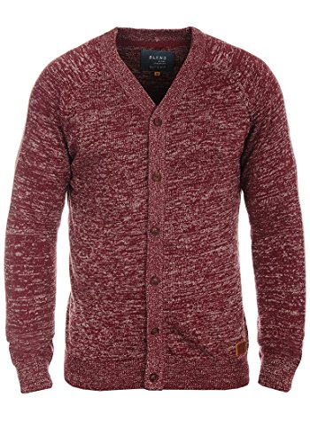 BLEND Daniel Herren Strickjacke Cardigan mit V-Ausschnitt aus hochwertiger Baumwollmischung Meliert Andorra Red