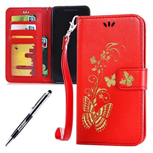 Kompatibel mit Huawei Nexus 6P Hülle Hülle Luxus Gold Schmetterling Muster Lanyard/Strap Pu Leder Hülle Handytasche Brieftasche Etui Schutzhülle Flip Wallet Case Cover Rot
