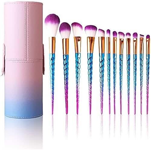 maquillaje unicornio kawaii Brochas de Maquillaje 12 Cepillos Cosméticos para Difuminar la Cara, Pinceles Suaves para Polvo y Sombra-Herramientas de Maquillaje con Mango Espiral
