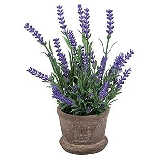WINOMO flores Artificial lavanda plantas con maceta para jardín casa de interior o de exterior decoración (morado)