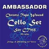Embajador CT135cromado cinta herida Juego Cuerdas para violonchelo, 1/2