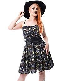 Cupcake Cult Moon Fox Robe Patineuse A Bretelles Imprimé Gothique Occulte (Noir)