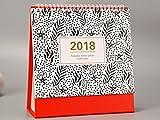 JieMiTe 2018 Creative Dot Star Pattern Desktop Flip Kalender Monat für Ver Stand up Office Starttafel Planer Kalender Notebook (Rot) für die Tägliche Nutzung