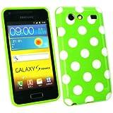 Emartbuy ® Samsung I9070 Galaxy S Advance Polka Dots Gel Skin Cover / Case Grün / Weiß