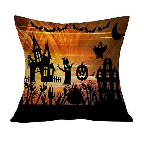 OverDose Damen Halloween Home Cinema Kissenbezug Sofa Taille Wurf Kissenbezug Kürbis Ghosts Decor Ornamente