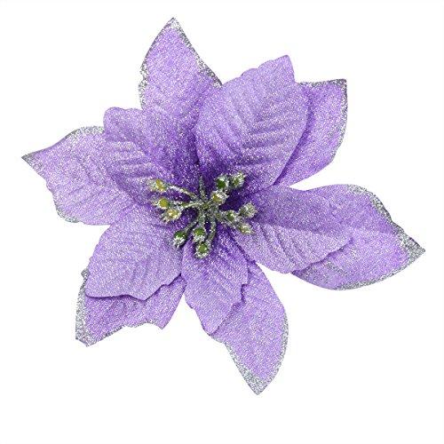 Fiori artificiali, decorazione ornamentale per albero di natale, ghirlande, 6 pezzi, 13 cm, purpel