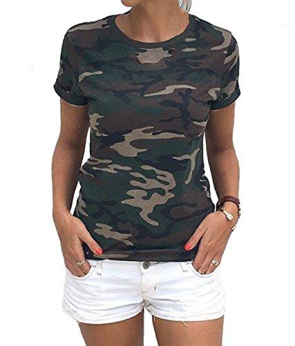 Frauen Armee Militär Tops Sommer T-Shirt Camouflage Printing Plus-Größe Kurzarm T-Shirt Paare Casual Swartshirt (Camouflage Army Green, M) (Armee Militär T-shirt)
