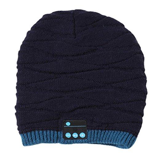 Bass Baumwolle Hut (Beanie Mütze Bluetooth Smart Mütze Mütze Winter Strickmütze Wireless Musical Kopfhörer eingebaute Mic (Blau))