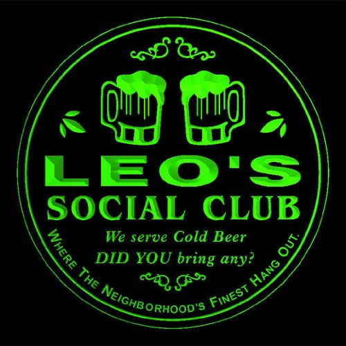 4x-ccpz0168-g-leos-social-club-bar-beer-3d-engraved-drink-coasters