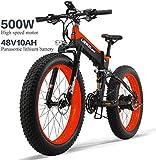 ZYQ Bici Elettrica 26In Pneumatici 500W Motore 48V 10AH Rimovibile Grande capacità della Batteria al Litio E-Bikes Sistema di Spostamento della 27 Speed   Gear Shimano Pieghevole Bicicletta,Rosso
