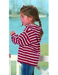 Bretonisches Kinder Kapuzenshirt von Modas rot/weißgestreift