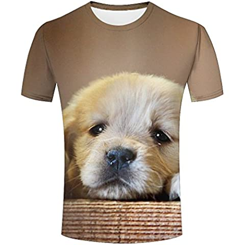 Mens Puppy/Dog Pattern 3D Print Short Sleeve Casual O Neck T-shirts Tees