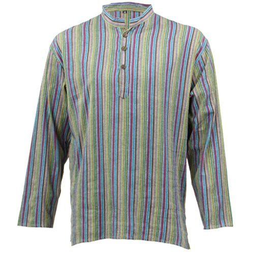 LOUDelephant Licht Baumwolle Lange Ärmel Gestreift Kurta Grandad Shirt–grün & blau Gr. Größe L, Green & Blue (Kurta Gestreiften)