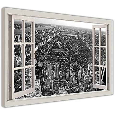 Ciudad de Nueva York Central Park ventana bahía efecto sobre enmarcado lienzo fotos impresiones en blanco y negro arte moderno imágenes, lona, negro/blanco, 01- A4 - 12