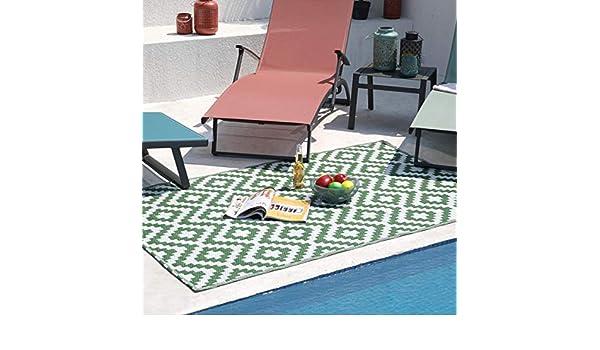 180 x 90 cm colore: Verde//Bianco RED DECO AMAZONIE Tappeto per esterni