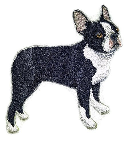 Amazing Custom Dog Portraits [Boston Terrier] Embroidery Iron On/Sew patch [4.5 x 4.5][Made in USA] by BeyondVision