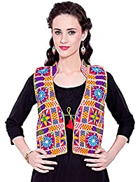 Vastraa Fusion Women's Ethnic Multicolored Embroidery on Pink Base Cotton Jacket/Waistcoat- Available in Various Size Options