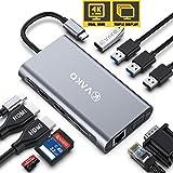 VaKo USB C HUB 12 Ports Docking Station Triplo-Display con HDMI 4K, VGA, Porta Ethernet, 4 Porte USB, Lettori SD e TF, Porta di Ricarica PD per MacBook PRO/Air e Altri dispositivi Type C