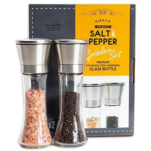 KIBAGA Edelstahl Salz Und Pfeffer Mühle 2er Set - Premium Gewürzmühlen mit verstellbarem Keramikmahlwerk - Perfekte Salzmühle & Pfeffermühle Zum Mahlen Aller Gewürze, Salz & - Pfefferstreuer Salz-oder