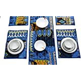 Agasvi Cotton 6 Place Mats And 1 Table Runner Set Indigo Denim Ikat Print With Hand Embriodered Kantha | 1 Table Runner Large Size : 86 X 16 Inches WITH 6 Table Placemats Size : 19 X 13 Inches (Indigo Denim)
