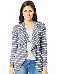 Miss Chase Women's Blue and White Striped Shrug