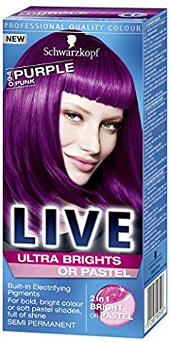 Schwarzkopf Live Ultra Bright or Pastel Colouration, Purple Punk Number 094 - Pack of 3