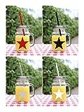 Gläser 'Stern' mit Deckel + Strohhalm Trinkglas Glas bunt mit Henkel 450ml 4er Set Cocktailglas Bowleglas modern ausgefallen