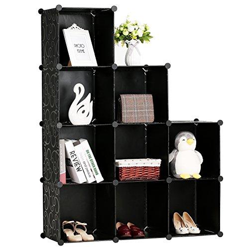 BASTUO Organizador de Almacenamiento de 9 Cubos, Caja de Almacenamiento Modular de 4 estantes, Armario de Armario, Color Negro