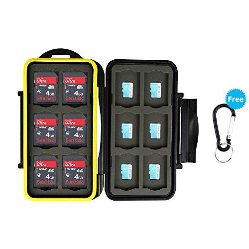 JJC Speicherkarten Tasche Wasserdicht Schutzhülle für 12 SDXC SDHC SD-Karten und 12 Micro SD-Karten mit Karabiner