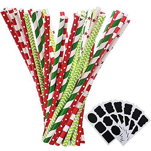Shappy Cannucce di Carta Cannucce Decorative per Natale Decorazione del Nuovo Anno, 125 Pezzi Modelli Multipli, con 6 Adesivi Neri (Rosso e Verde)