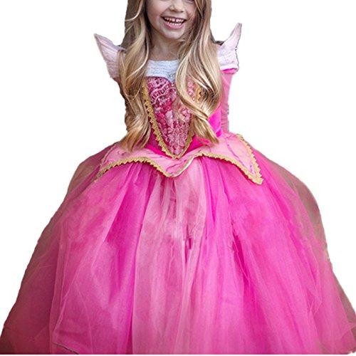 Kosplay Mädchen Prinzessin Kostüm Eiskönigin Kleid für Mädchen Schmetterling Karneval Verkleidung Party Cosplay Faschingskostüm Festkleid Weinachten Halloween Fest Kleid, Rot, Gr. 120