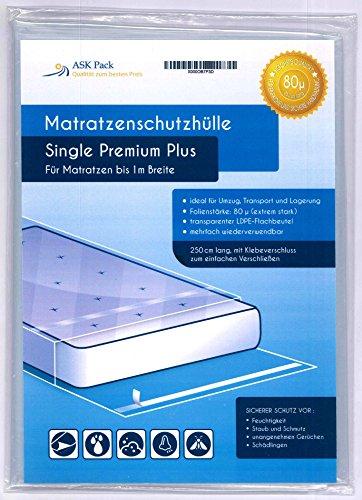 Housse De Protection Matelas Single Premium pour matelas 100cm de large avec fermeture adhésive - EXTRA solide 80µ, EXTRA long 250cm