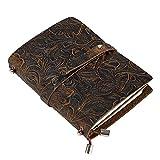 Leder Notizbuch A6, UBaymax Vintage Reise Tagebuch Notizbuch Nachfüllbares, Handgefertigt Bullet Journal Notizblöcke Geschenkidee für Mädchen Frauen (Braun)