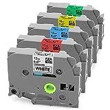 5er set Schriftband-Kassette Tape, tze231 tze431 tze531 tz631 tz731 Standard Laminiertes Etikettenband Kompatibel für Brother P-touch Klebebandkassette Etikettiermaschine PT-900 PT-1000 PT-1005 PT-1010 PT-1080 PT-h75 PT-h101c PT-h105 PT-100lb Schwarz auf Weiß Rot Blau Gelb Grün 12mm x 8m